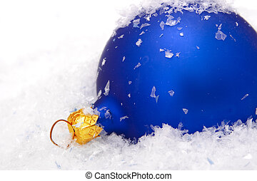 christmas ball with snow