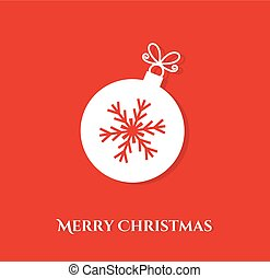 Christmas ball with snowflake on red background