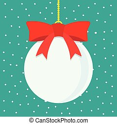 Christmas ball with snowy blue background