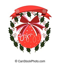 christmas ball wreath floral ribbon