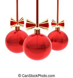 Christmas balls against white background