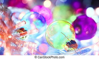christmas balls and blinking lights seamless loop