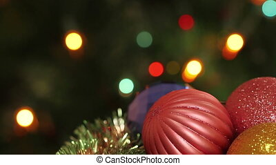 Christmas balls and fir tree with