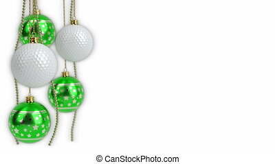 christmas balls and golf balls theme. 3D render. seamless loop