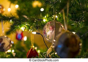 Christmas balls and lights