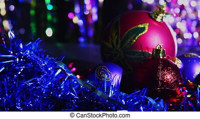 Christmas Balls and New Year Decoration on Abstract Blurred ...
