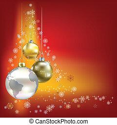 Christmas balls and planet red background - Christmas balls...