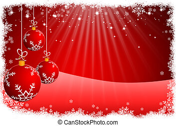 Christmas balls and red abstract background. RASTER -...