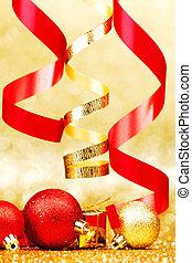 Christmas balls and ribbons