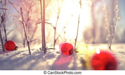 Christmas balls and snowfall close-up slowmotion - Christmas...