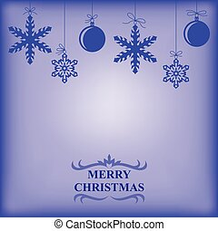 Christmas balls and snowflakes card on blue background