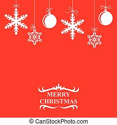 Christmas balls and snowflakes card on red background