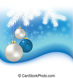 Christmas balls and snowflakes vector background