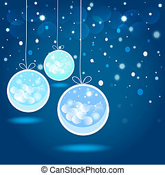 Christmas balls  and stars in the night sky. Vector EPS10.