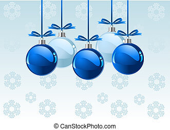 Christmas balls background - Christmas balls with bows over...