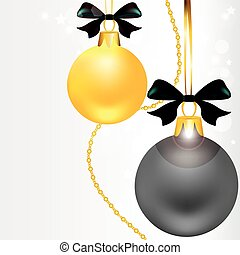 Christmas balls, black,white, gold colors