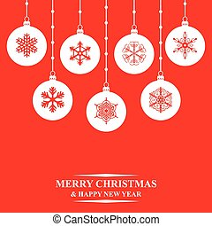 Christmas balls card on red background