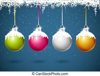 Christmas balls - Set of different colored Christmas balls
