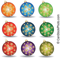 Christmas balls with gold snow flakes