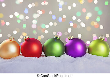 Christmas balls - Colorful christmas balls in a row