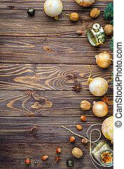 Christmas balls decor on old wood background