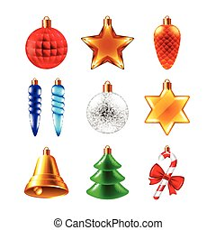 Christmas balls different forms vector set