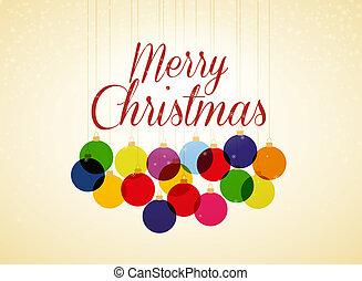 Christmas balls - Retro Christmas background with Christmas...
