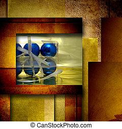 Christmas balls elegance postal card in golden background