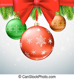 Christmas balls, green fir branches, bow, snowflake background