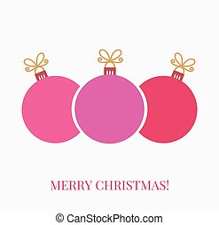 Christmas balls greeting card background