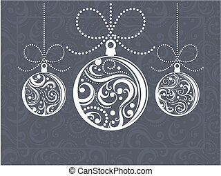 christmas balls with scrolls ornaments on decorated background in vector format very easy to edit