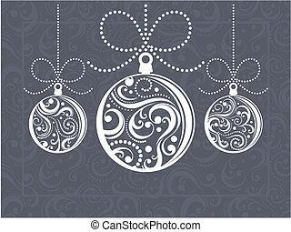 christmas balls greeting card - christmas balls with scrolls...