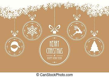 christmas balls hanging gold background