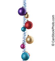 Christmas balls hanging on white background