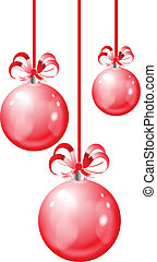Christmas balls hanging with ribbon bows on white background