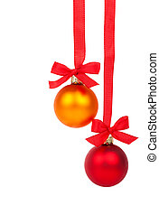 Christmas balls hanging with ribbon, isolated on white background