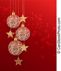 christmas balls - Vector christmas background with decorated...