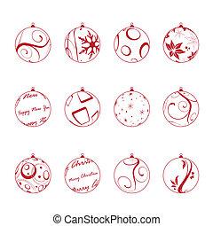 christmas balls set, vector illustration