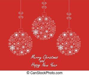 Christmas Balls - vector Christmas balls made of snowflakes