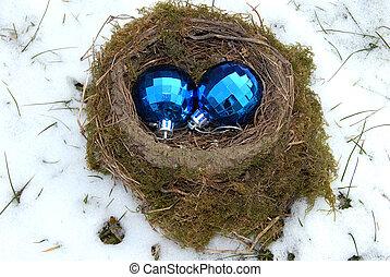 Christmas balls in nest