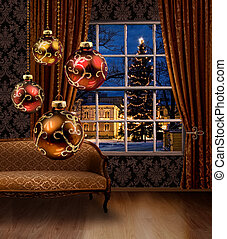 Christmas balls in room, town view window - Christmas balls ...