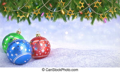 Christmas balls in snow and Twigs decoration on bokeh background - 3D render. Seamless loop