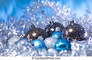 Christmas balls in tinsel - Christmas balls coated with...
