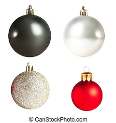 Christmas balls isolated on white background. Collection. Black, silver and red Xmas baubles.