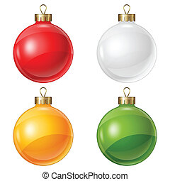 Christmas balls isolated on white for design.