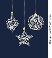 Christmas balls made from snowflakes