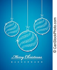 Christmas balls made from stars on blue background
