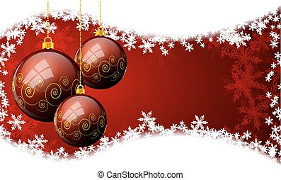 Christmas balls on a background with snowflakes