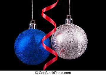 Christmas balls on a black background.