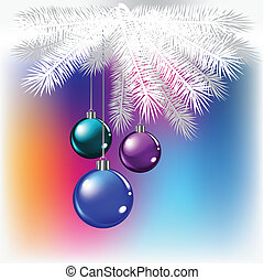 Christmas balls on a colored background